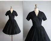 STOREWIDE SALE 50's Dress // Vintage 1950's Classic Black Full Cocktail Party New Look Dress XS