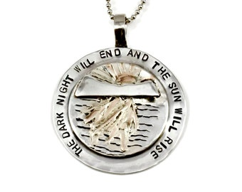 Nature Jewelry For Mom, Sterling And Gold Inspirational Jewelry, Sun Gold And Sterling Jewelry, Robin Wade Jewelry, The Sun Will Rise, 2433