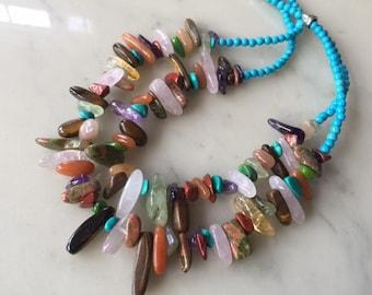 Summer chunky multi color necklace, stylish, unique, gift idea, multi strand, natural stones, blue turquoise, multi stone