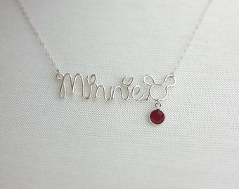 Disney Name Necklace with Birthstone Silver Name Necklace Disney Adult Jewelry Mickey Mouse Disney Name, Disney Vacation Accessories Gifts