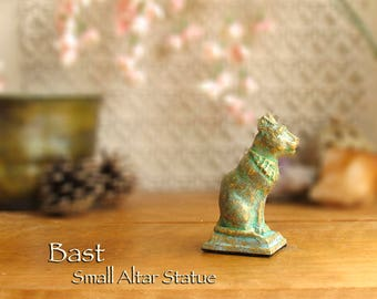 Bast Small Altar Statue - Bastet - Ancient Egyptian Goddess of Protection - Handcrafted Polymer Clay Statue -Aged Golden Brass Patina Finish