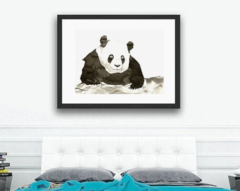 Minimalist Original Ink Painting - Giant Panda Bear Wildlife Sumi-e