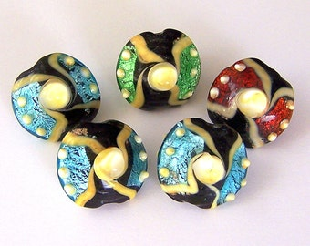 5 foil lampwork glass beads, 20mm x 18mm lentil shape
