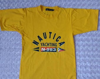 Vintage Nautica T Shirt Spell Out Yachting Sailing Club