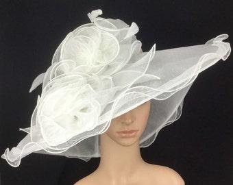 White Wedding Hat,White Kentucky Derby Hat ,Organza Hat ,Derby Hat,Dress Hat ,Bridal Wedding Hat,Tea Party Hat Ascot