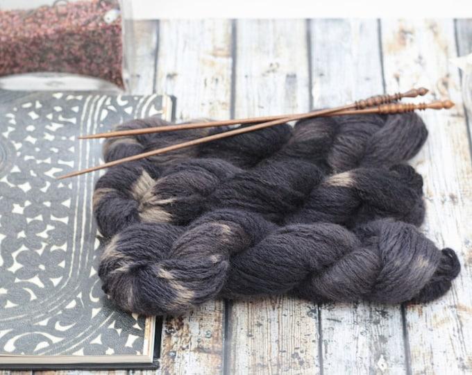 Hand dyed Yarn handspun Mink Midnight Shibori worsted, Dark Purple, Charcoal,Black, Brown