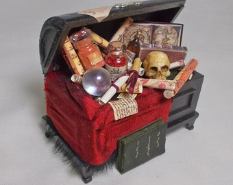Dollhouse Miniature Wizard / Witch Filled Trunk