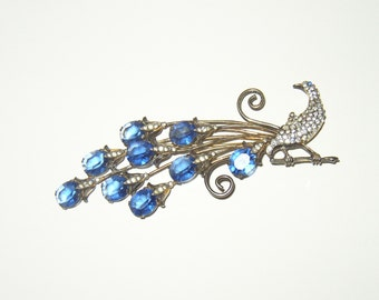 "HUGE 4.5"" Vintage Sterling Rhinestone Peacock Brooch"