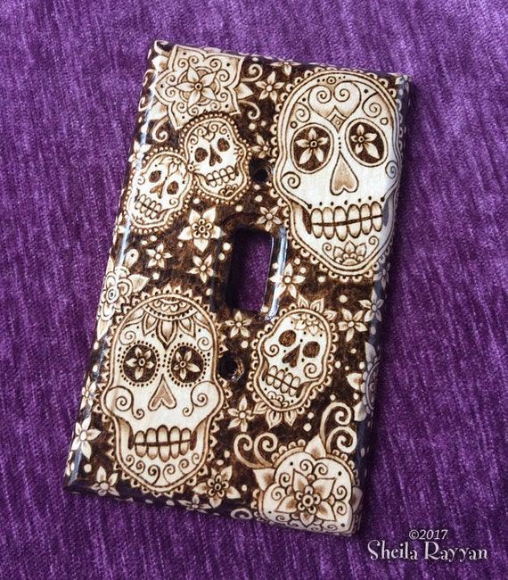 Wood Switch Plate Cover - Sugar Skull Dia de los Muertos Pyrography Home Decor