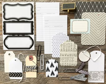 Black and White Tag + Embellishment Kit Collection . Planner Scrapbooking Mixed Media Mini Album Midori Travelers Notebook Listers Paper