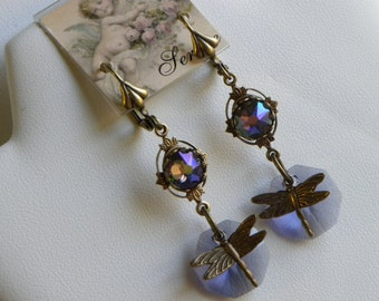 Dragonfly Earrings Tanzanite Purple Lilac Swarovski Crystal Earrings, Long Purple Dragonflies Dangle Earrings