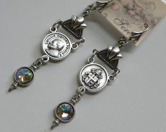 Religious Earrings Silver Rosary Earrings Catholic Pope Assemblage Long Dangle Earrings
