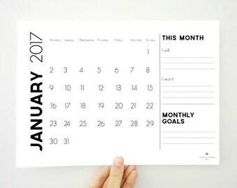 Printable Monthly Calendar for 2017, 12 Month Wall Calendar, Monthly Goals, 2017 Planner, Office Organization, Dorm Decor, Digital File