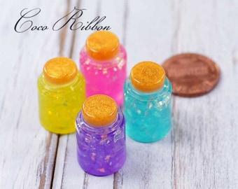 22mm 8~16pc Mixed Fake Glitter Miniature Jar Bottle Dollhouse Resin Flatback Cabochon Cabochons D29