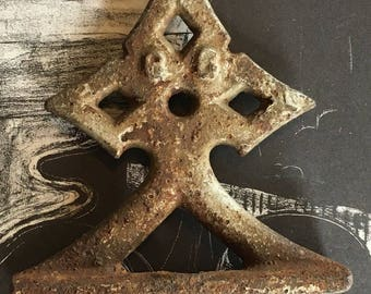 Old Heavy Rusty Gothic Finial - Stormy Patina - Assemblage Steampunk Mixed Media Supply