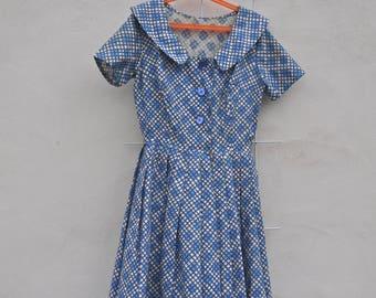 1950s Cotton Handmade Day Dress