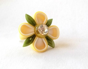 Sweet Yellow and Green Kanzashi Flower Ring Adjustable Statement Jewelry