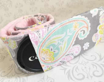 Camera Strap Cover with Lens Cap Pocket - Padded Minky, DSLR Camera Strap Cover, Photographer Gift - Pastel Paisley with Baby Pink