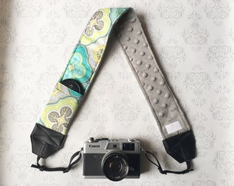 DSLR Minky Camera Strap, Padded with Lens Cap Pocket, Nikon, Canon, DSLR Photography, Photographer Gift, Wedding - Teal Moroccan with Gray
