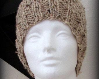 knit hat - hand knit hat - hat - beanie - beige knit hat - beige hand knit hat - ribbed hat - knit beanie - beige beanie - hand knit beanie