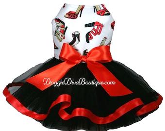 Dog Dress - Tutu Dress - Red Shoes -  XXS, XS, Small, Medium