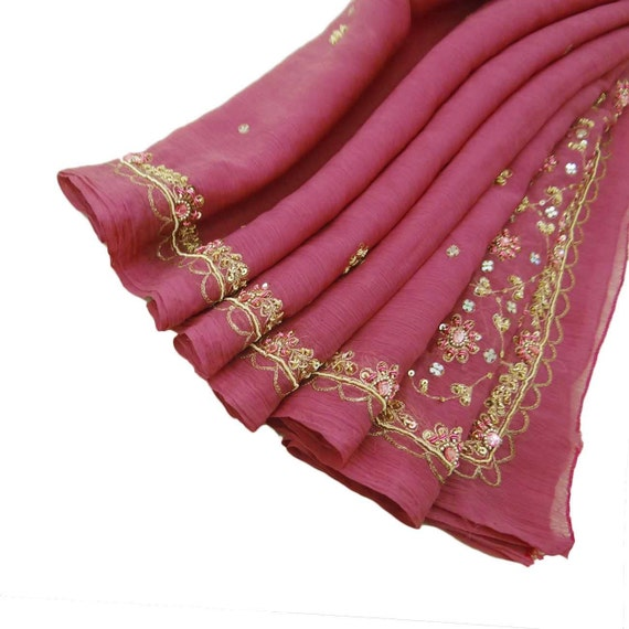Vintage Shawl/Stole. Regency Style. Pink Chiffon, gilt embroidery