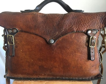 Very Vintage Well Worn Perfection Brown Leather Messenger Bag, Briefcase, School Bag, Carryall