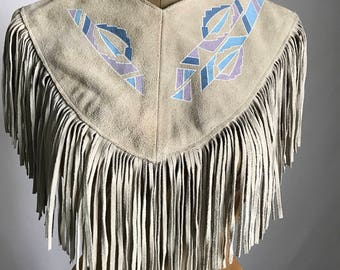 Sophisticated Hippie Boho 80's/90's Suede Leather Southwest Style Fringe Collar Poncho Pullover by Pioneer Wear