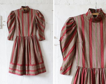 Puff Sleeve Dress S • Burgundy Striped Dress • High Collar Dress with Pockets • 80s Dress • Long Sleeve Dress • Knee Length Dress | D930