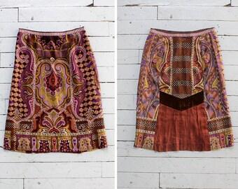 Etro Skirt S/M • Wool Midi Skirt • Pencil Skirt • Pleated Midi Skirt • Winter Skirt • Burgundy Skirt • Paisley Midi Skirt   SK611