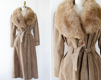 Penny Lane Coat S • Vintage Shearling Coat • 70s Coat • Fur Collar Coat • Fur Collar Coat • Long Fur Coat • Suede Coat | O397