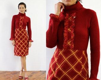 Vintage Turtleneck Dress S/M • 60s Dress • Ruffle Dress • Maroon Dress • 60s Mod Dress • Knit Dress • Knee Length Dress • Plaid Dress |D1226