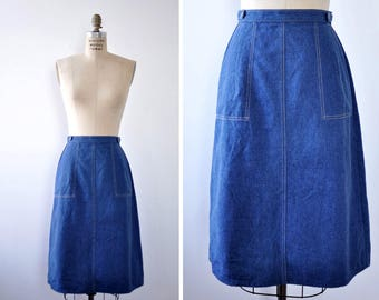Denim Wrap Skirt S/M • 70s Skirt • Levis Skirt • Vintage Denim Skirt • Midi Skirt with Pockets • Vintage Wrap Skirt • Flare Skirt | SK796
