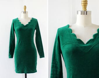 Velvet Mini Dress S • Scallop Dress • 90s Dress • Green Velvet Dress • Zelda Dress • Vintage Mini Dress • Fitted Dress | D1266