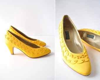 Vintage Gucci Shoes 7-7 1/2 • Gucci Yellow Heels • 80s Heels • Embroidered Heels • Yellow High Heels •80s Shoes • Vintage Heels | GSH011