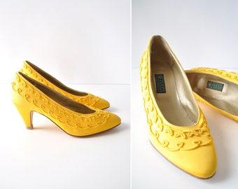 Vintage Gucci Shoes 7-7 1/2 •Gucci Yellow Heels • 80s Heels • Embroidered Heels • Yellow High Heels •80s Shoes • Vintage Heels | GSH011