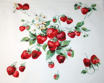 Yummy Strawberries Fabric Piece from Wilendur Vintage Tablecloth for Pillow, Framing or Projects - 24 x 15 Inches