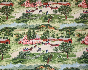 "Rare ""Checkerboard House"" Grandma Moses Vintage Barkcloth Fabric — 37 Inches by 20 Inches — 12 Repeats"