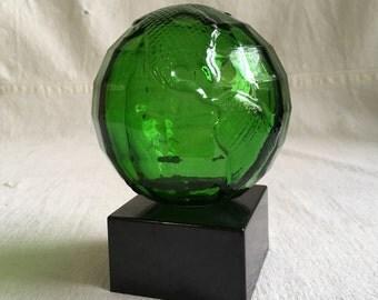 Vintage glass globe  cologne globe bottle  green glass globe