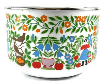 Vintage Scandanavian Style Enamel Bowl Kobe Kitchen Japan Mixing Bowl Serving Bowl Woodland Birds Flowers Fruit Bowl Dutch