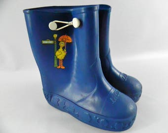 Vintage Sesame Street Big Bird Galoshes Rain Boots Muppets Child Size 8/9 Blue