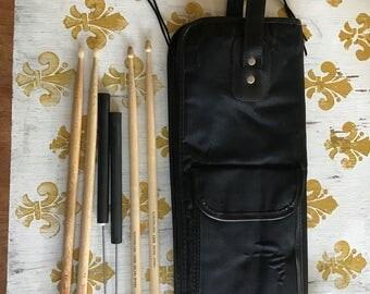 Drumstick Carry Bag Case Plus 2 sets of Drumsticks Brushes instrument Vintage Gene Krupa Drummer's Choice