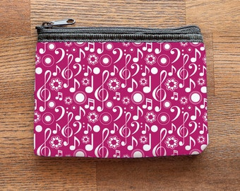 Pink Music Notes and Clefs Neoprene Coin Purse or Zipper Pouch
