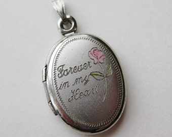 Vintage Sterling Silver Forever in my Heart Oval Locket Necklace Pendant