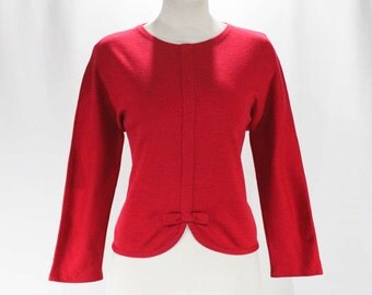 Size 6 Pink Sweater - Paris Label Late 50s Knit Top - Mid Century Modern 1960s Long Sleeved Pullover - 60s Magenta Red - Bust 38 - 47586
