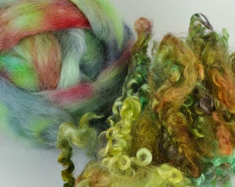 Spinning Felting Fleece Fiber Medley Wensleydale Roving Wensleydale Locks  2 Ounces Colorway- Lily Pond