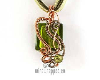 OOAK green and copper wire wrapped pendant