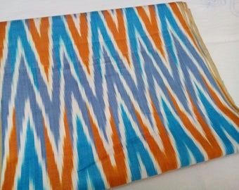 Uzbek handwoven multicolor cotton chevron  ikat fabric by meter. F039