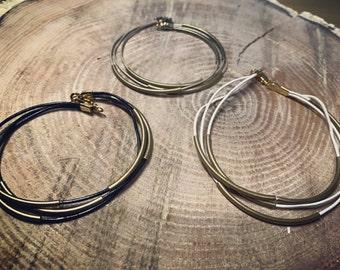 Multiple strand leather antique gold bracelet