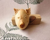 Wooden pig, miniature wall art, trophy, sculpture, animal portrait, wall hanging, animal carving, wood carving, Pig portrait